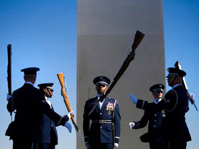 The Air Force Honor Guard Drill Team at the Air Force Memorial.