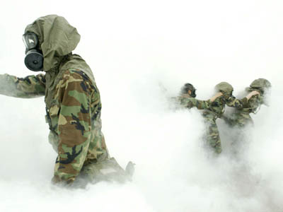 Fifty-four Bravos during chemical weapons training.